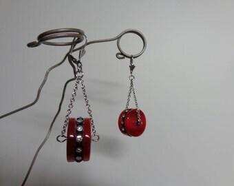 Lucite Dangle Earrings, Silver Lever Back Dangle Earrings, Red Lucite Dangle Earrings, Rhinestone Lever Back Dangle Earrings, Red Earrings