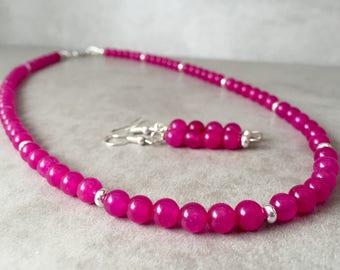 Pink beaded necklace, Pink necklace, Beaded necklace, Bright pink necklace, Pink Jewelry