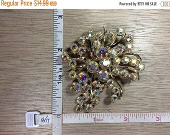 10% OFF 3 day sale Vintage BSK Gold Toned Pin Brooch Aurora Borealis Rhinestones Used