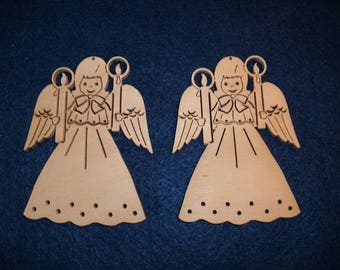 2 angels with candles, wood, 8 x 6 cm (24-0018A)