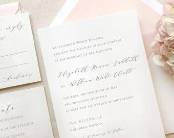 Blush Pink Wedding Invitations - Minimalist Wedding Invitations - Invitation Sample - Wedding Invitation Suite - The Rivercrest Suite Sample