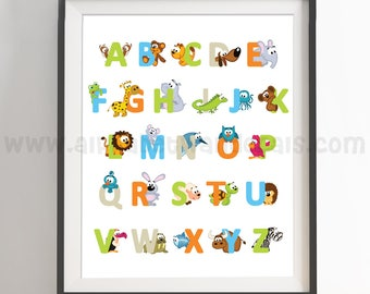 Alphabet Poster, Playroom Poster, Nursery Poster, Alphabet Nursery Art, Nursery Wall Art, Alphabet Art, Alphabet Wall Art, Poster  22-0034