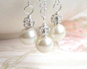 Set of 6 Bridesmaid Jewelry Sets Ivory Swarovski Pearl Bridesmaid 6 Sets of 6 Necklaces and 6 Pairs of Earrings Bridesmaid Gift 6 Sets JS036