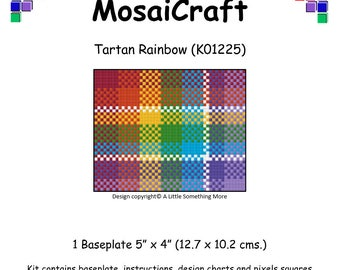 MosaiCraft Pixel Craft Mosaic Art Kit 'Tartan Rainbow' (Like Mini Mosaic and Paint by Numbers)