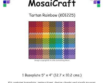 MosaiCraft Pixel Craft Mosaic Art Kit 'Tartan Rainbow' (Like Mini Mosaic and Paint by Numbers)