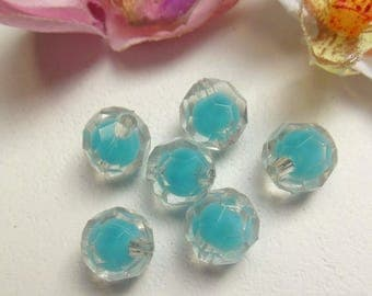 set of 6 faceted blue acrylic round beads