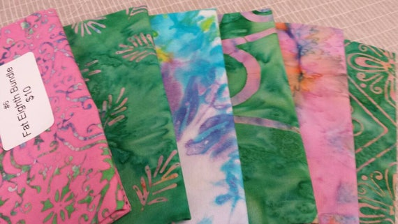 Batik Textiles Fat Eighth Fabric Bundle of 6 Blender Pink and Greens With A Touch of White And Blue. Craft Sewing Supply For Island Style