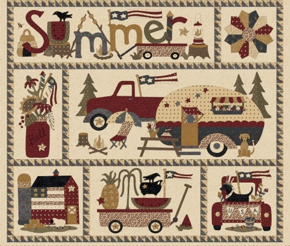 Vintage Campers and Trucks on Parade 35 Inch Panel Summer Fun Camping And Adventures Primitive Folk Vintage Cream. SKU 8870P
