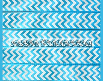 """40% off 5 yds 5/8""""  Turquoise and White Chevron Striped Stripe Grosgrain Ribbon"""
