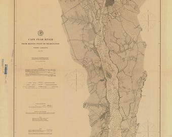 Cape Fear River Reeves Pt  Wilmington 1897 Map - Old Nautical Chart - North Carolina - Reprint - AC Harbors 425