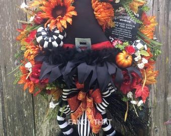 Wicked witch of the east halloween wreath,wizard of oz,ruby red slippers,wicked witch of the east,oz,halloween wreath,fall wreath,witch