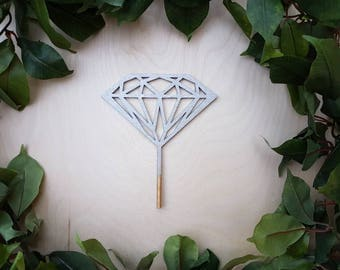 SALE** Diamond Cake Topper - Geometric Cake Topper - Silver Diamond Cake Topper - Birthday Cake Topper - Wedding Cake Topper