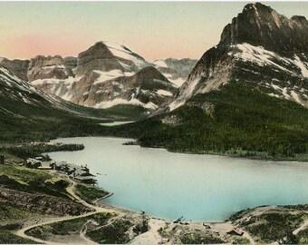 Many Glacier Region - Glacier National Park Montana Hand-Colored Vintage Postcard (unused)