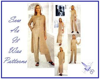 "1990s FF New Vogue Attitudes 1985 Designer Adri Duster Coat Jacket Sleeveless Dress & Top Pants Sewing Pattern Sizes 12 14 16 Bust 34 36 38"""