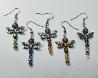Glass Dragonfly Earrings - Multiple Color Options