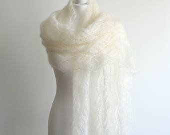 Light cream hand knitted lace shawl silk mohair scarf rectangular handmade