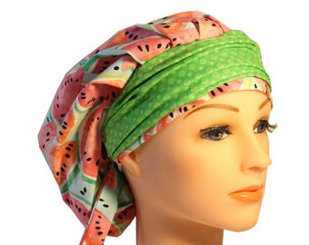 Scrub Cap Surgical Medical Chemo Chef Vet Doctor Nurse Hat Banded Bouffant Tie Back Watermelon Bright Green 2nd Item Ships FREE
