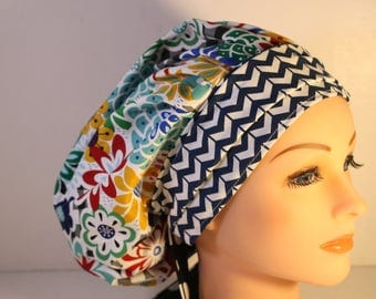 Scrub Cap Surgical Medical Chemo Chef Vet Doctor Nurse Hat Banded Bouffant Tie Back Happy Primary Floral  Blue Chevron 2nd Item Ships FREE