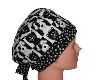 Scrub Hat Surgical Scrub Cap Chemo Hat Flirty Front Fold Pixie Black White Cats Dogs  2nd Item Ships FREE
