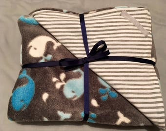Whale nautical baby blanket