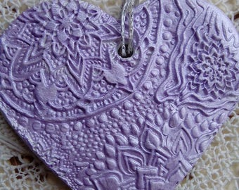Purple/lavender colour clay heart, hanging decoration, handmade ornament, heart ornament, air dry clay heart ornament, valentines day