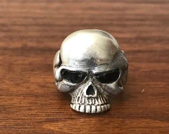 Artisan Studio Cast Crude Skull Ring With Onyx Eyes