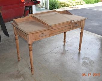 Vintage Antique General Store Desk/Country Store Desk Clerks Desk 1800's Slant Top Hardwood Farmhouse Desk Country Cottage Desk