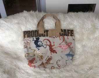 Large tote bag made from funky gecko print fabric, trimmed with recycled coffee bean sack and fully lined.