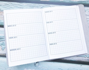 Traveler's Notebook B6 Size Week on Two Pages Grid Horizontal {Q2 | April-June 2018} #800-17