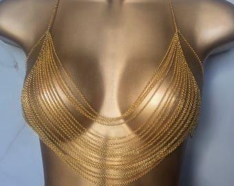 Goddess Bra Chain Top - Body Jewelry - Jewelry Bra - Body Chain Bra - Layered Chain Top - Sexy Lingerie - Spring Break - Coachella