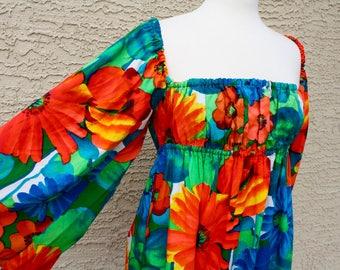 Vintage Hawaiian Dress - Bright Orange Green Blue Flowers - Festival Dress - Lined with Dolman Sleeves - Retro Hawaii 1960's 1970's