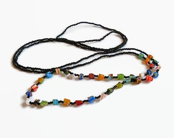 Seed bead necklace, beaded bohemian necklace,black and rainbow colors, beaded layer necklace