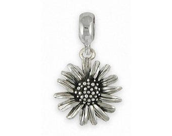 Daisy Charm Slide Jewelry Sterling Silver Handmade Flower Charm Slide DY4-PNS