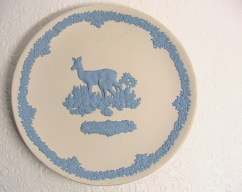 Wedgwood,  Vintage Blue Wedgwood Jasperware Collector Plate with Deer, Happy Mother's Day 1979