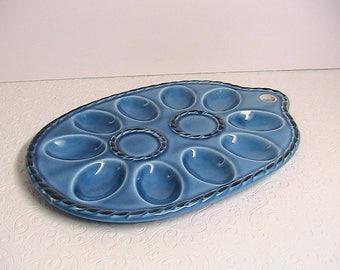 Egg Plate, Vintage Blue Pottery Ceramic Egg Plate