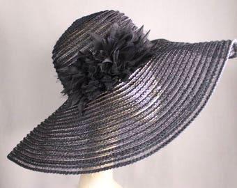SALE Black Large WideBrim Vintage Sun Hat Wedding, Parties, Church, Vacations