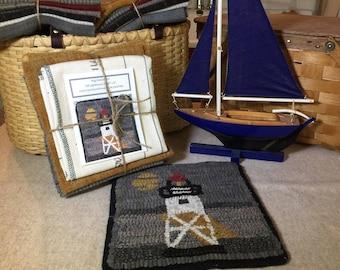 "Rug Hooking Kit, GM Lighthouse Mat, 8"" x 8""  K131"