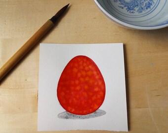 Scarlet Dragon Egg Watercolor Painting OOAK