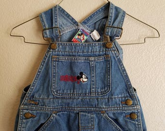 Disney Mickey Mouse Overalls Kids Denim Coveralls 1990s Size 5