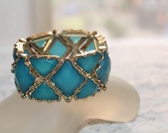 Teal Blue Bracelet,  Statement Wide Bracelet, Large Wrist Bracelet, Retro Bracelet