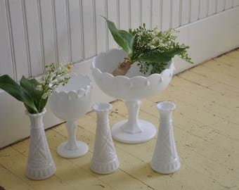 Vintage Milk Glass Set,  Bud Vase Set of Three and a set of Teardrop Pedestal bowls that include two sprays of Lily of the Valley