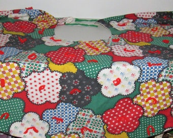 "Vintage Christmas Tree Skirt, Handmade, 34"" across x 17"" deep on all sides"