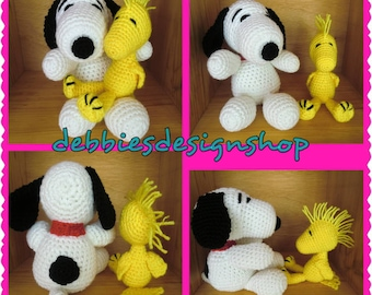 Snoopy & Woodstock stuffed animals, Crocheted - made to order