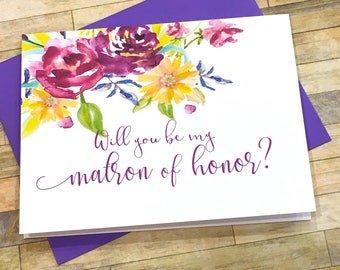 matron of honor proposal card - will you be my bridesmaid - purple gold matron of honor proposal - maid of honor - flower girl - EMBRACE