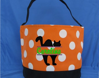 White Polka Dot Embroidered Halloween Bucket - Personalized Trick or Treat Candy Bag - Monogrammed Halloween Candy Bucket - Pumpkin