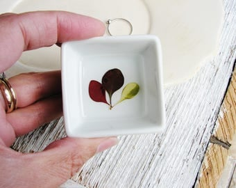 Jewelry Dish, Ring Dish, Floral Ceramic Dish, Small Ring Holder, Ring Tray, Jewelry Storage, Nature Lovers Gift