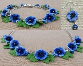 Blue Anemone Jewellery Set - Necklace, Earrings, bracelet