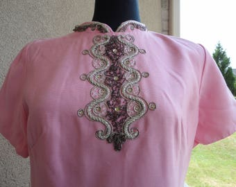 Pink Vintage Dress With Silver Embellishments