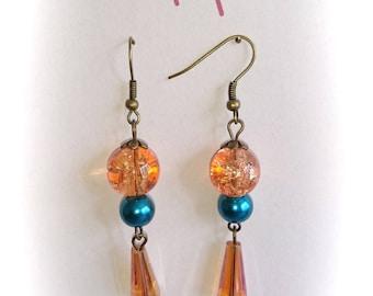 Earrings pearls and orange drops