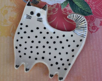 Ceramic cat spoon rest. Siamese cat jewelry holder. Soap dish. Cat ring holder. Siamese  cat dish. Cat table decor. Cat plate. Birthday gift